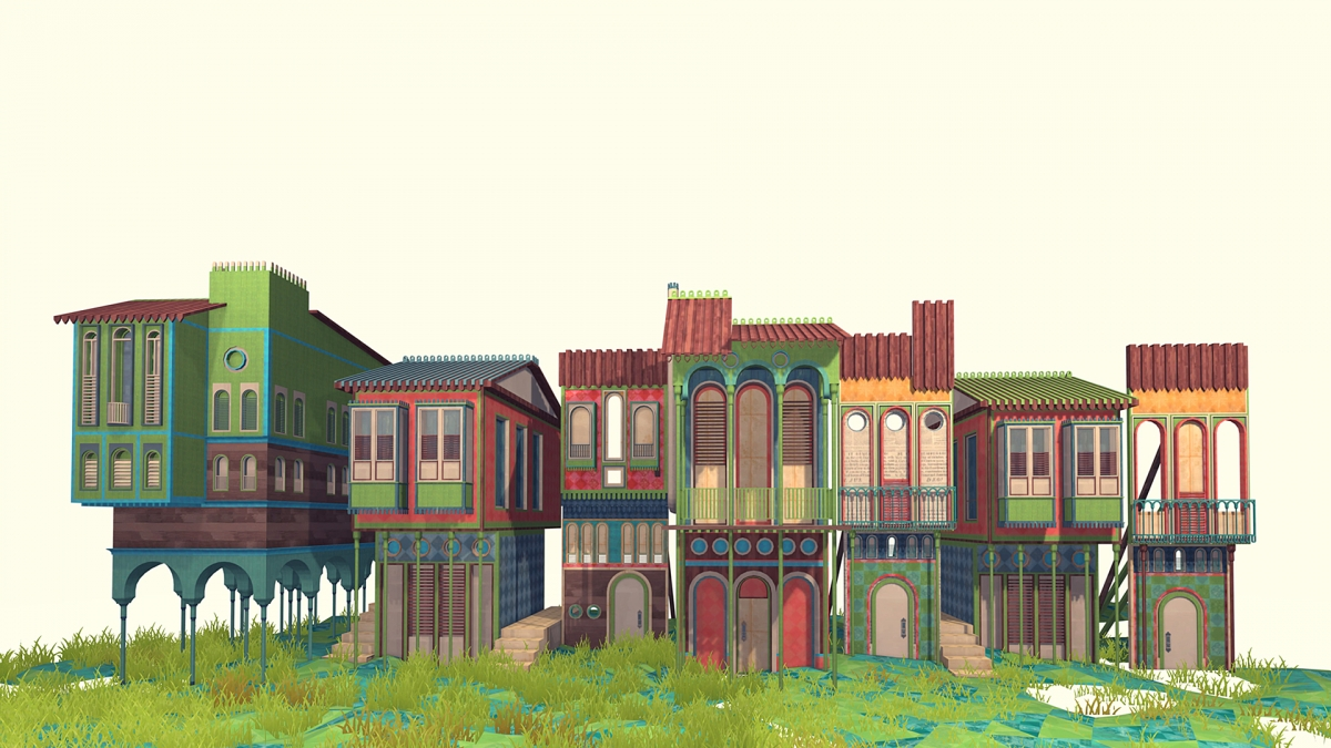 Town environment designed in SketchUp