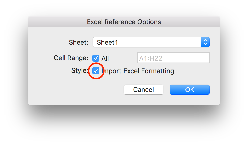 Excel Reference Options