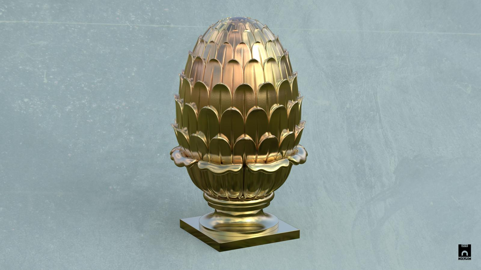 A 3D render of a gold artichoke finial.