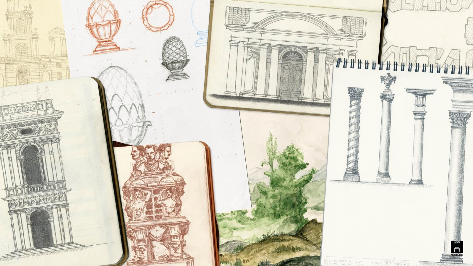 A collage of hand-drawn architectural sketches.