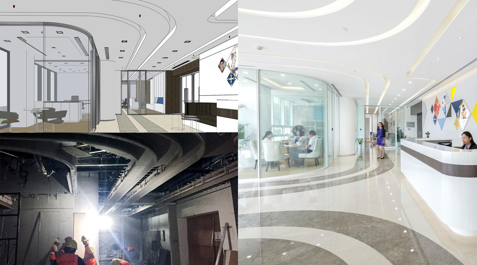 Before, during, and after the build. A slick reception area is created.
