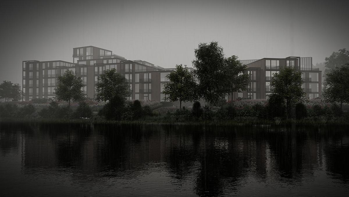 Riverside view of Nesttun development, Bergen