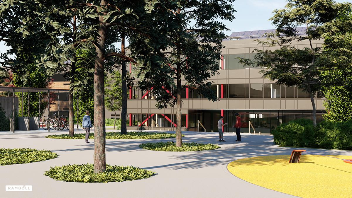 SketchUp + Lumion rendering of Veiavangen Middle School, Mjøndalen, Norway