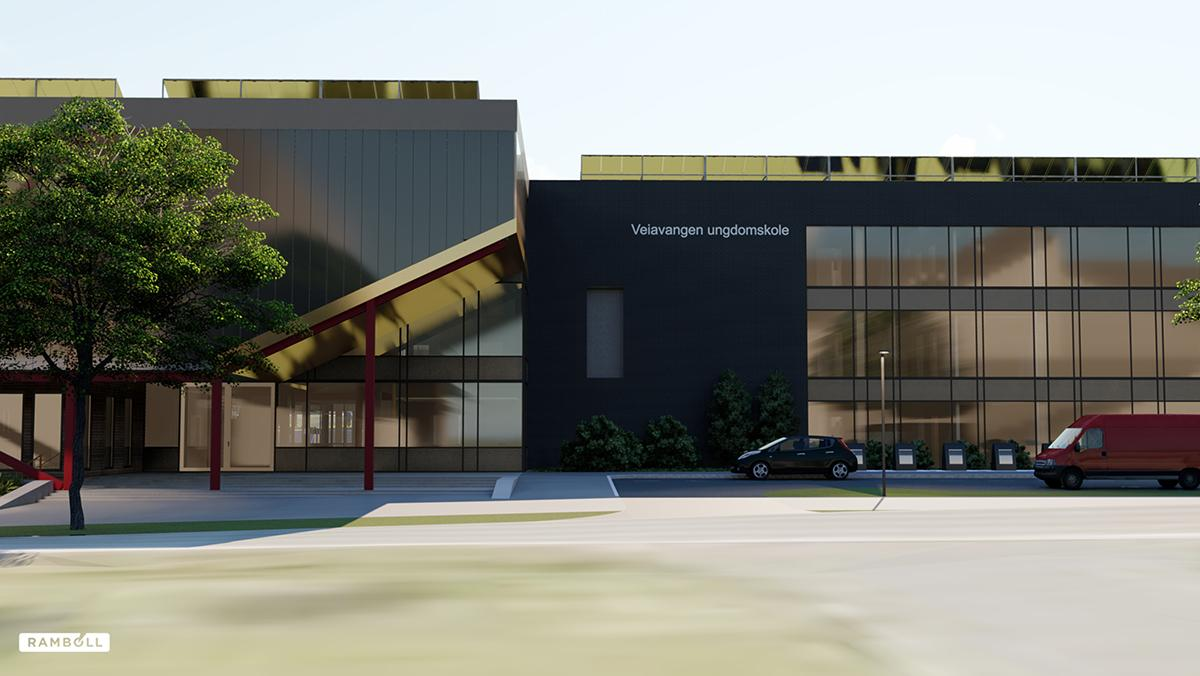 A SketchUp model of Veiavangen Middle School rendered in Lumion. An all-Rambøll project where several BIM models from different programs were combined in Sketchup.