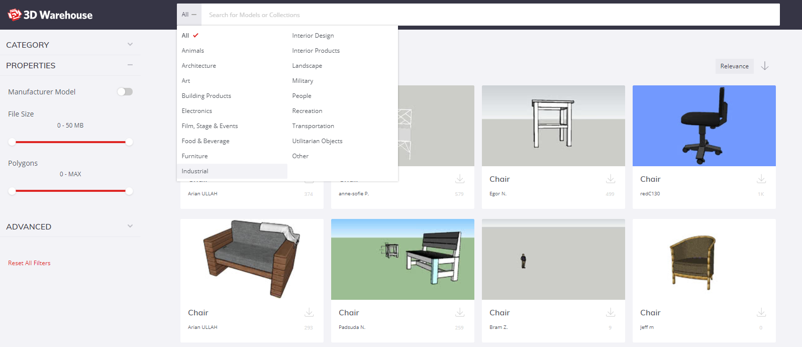 3D Warehouse's new categories feature in action.