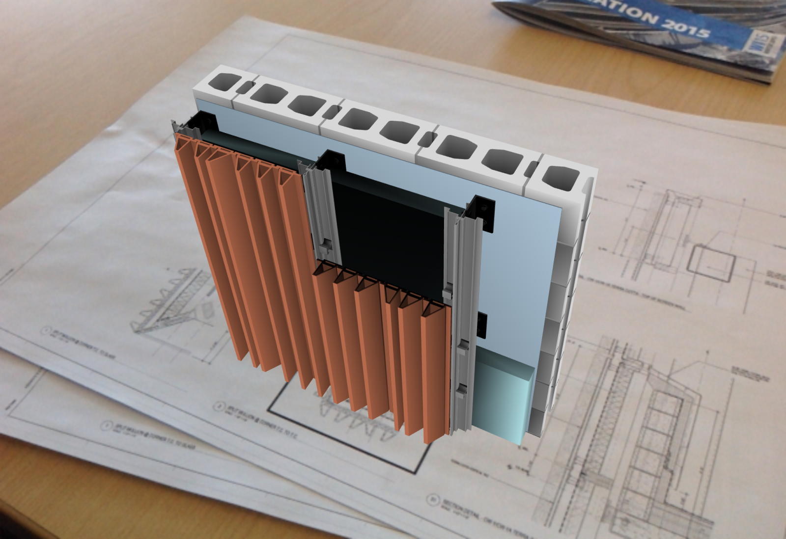 Virtual mock-up of a construction detail for viewing in an augmented reality environment.
