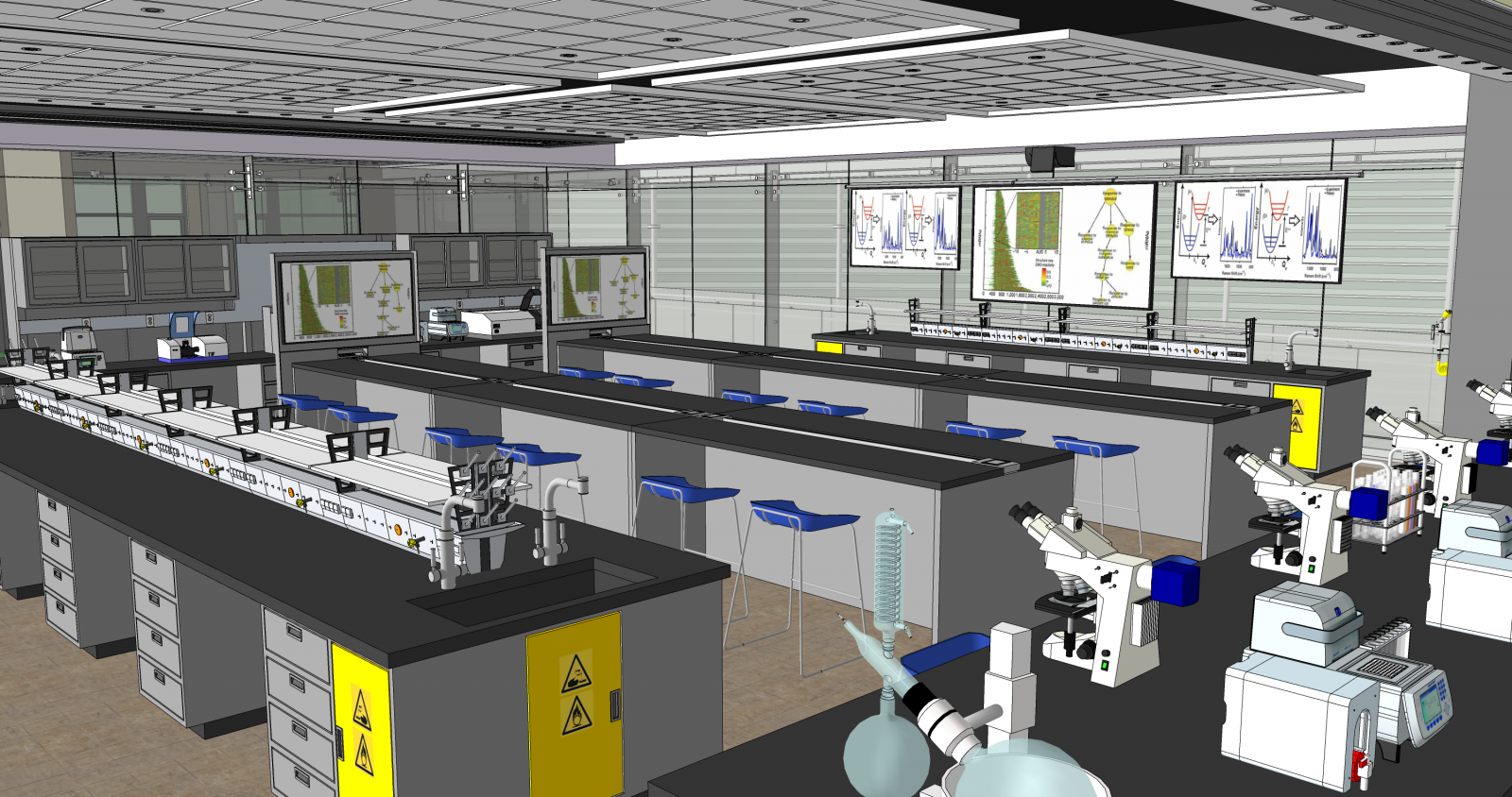 Virtual mockup of a chemistry laboratory that facilitated early decision making with user groups during the design phase.