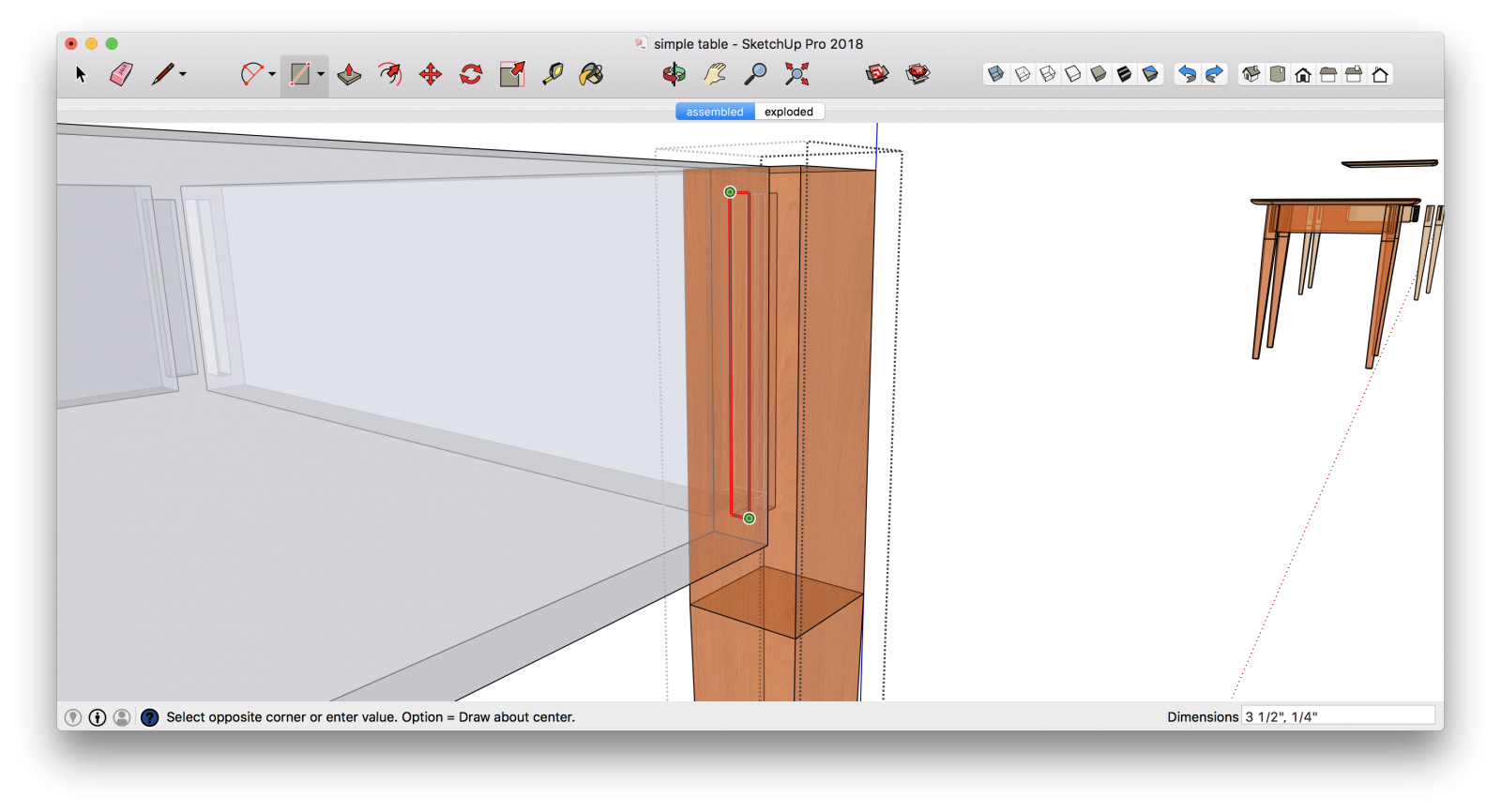 Modeling a mortise