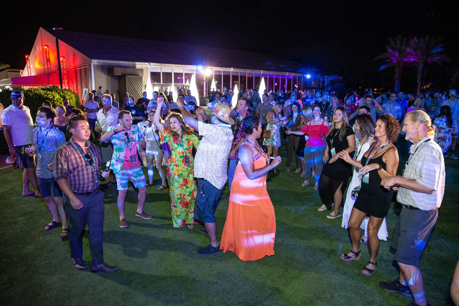 Users dance the night away during the Desert Glow: Party in the Palms event.