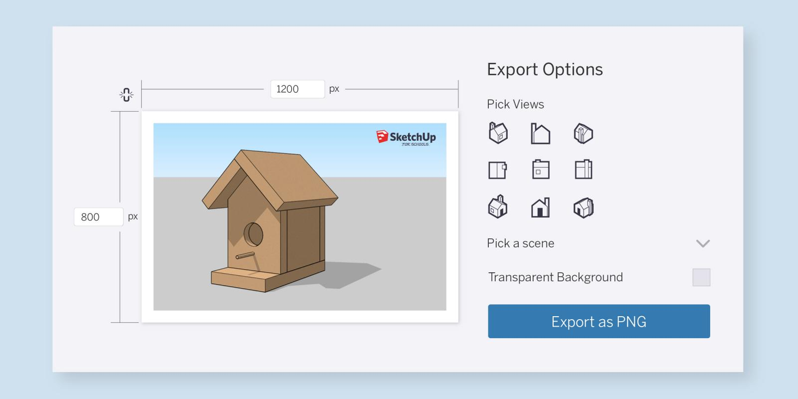 Image exporting in SketchUp for Schools