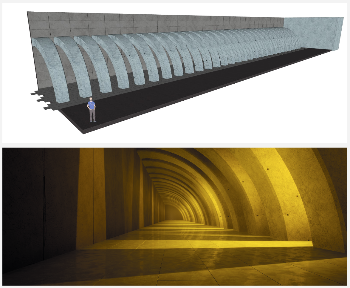 Anders spends time fine tuning his rendering skills in Unreal Engine. Above: A test scene built and textured in Sketchup. Below: Light baked and rendered in Unreal.