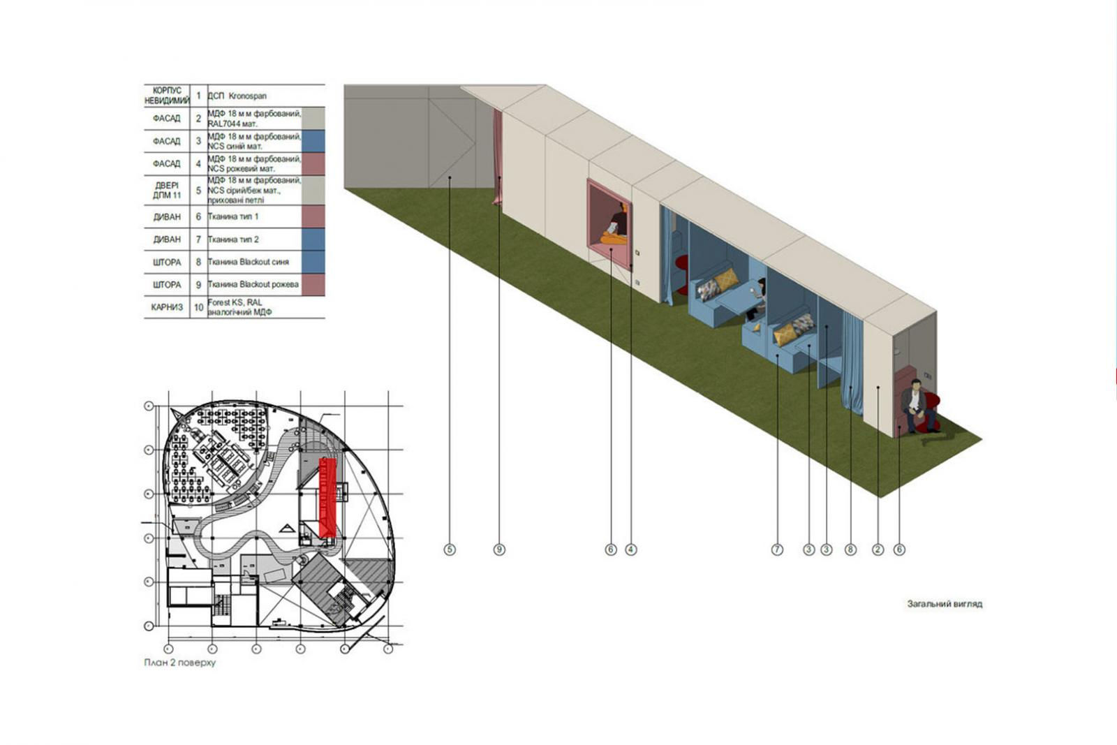 Detailed SketchUp model for commercial interiors